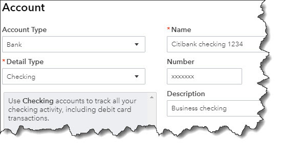 Setting up back accounts in QuickBooks Chart of Accounts