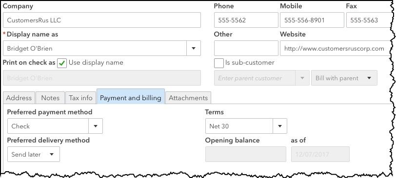 Customer Records Using QuickBooks Online