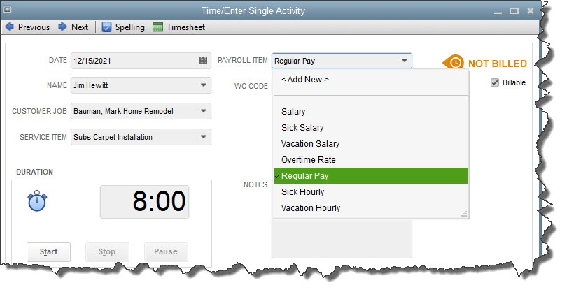QuickBooks Part 2: Tracking time